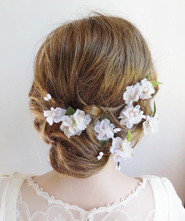 White flower hair clip flower hair pin bridal hair pins cherry white flower hair clip flower hair pin bridal hair pins cherry blossom hair mightylinksfo