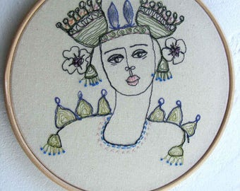 Hoop art - Hand and free style embroidered. The Floral Headdress. An original design.