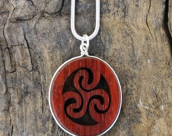 Rosewood Triskelion Pendant, Hand-carved Celtic Triskele Pendant On Sterling Silver, Triple Spiral Necklace, Unique Wood Anniversary Gift