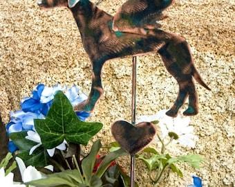 Greyhound Pet Memorial Metal Garden Yard Art Stake, Copper Pet Memorial, Grave Marker, Garden Sculpture, Memorial Dog, Outdoor Metal Art