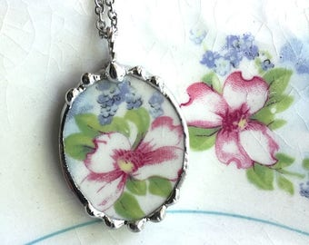 Broken china jewelry necklace pendant forget me not and apple blossom, made from antique broken china, recycled china, sustainable art