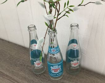 Vintage Canada Dry Club Soda glass bottles - group of 3 - great graphics & colors