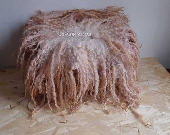 Newborn phote prop curly layer old rose soft brown shades flokati wool newborn curly felted rug flat curly felt basket filler wool fluff
