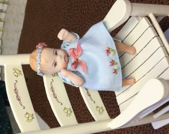 Baby Squirt  Adorable OOAK Miniature Porcelain Doll Baby  Girl One Inch Scale