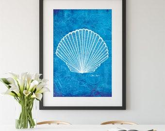 Seashell, Charleston wall art, aquatic, seaside, beach house, nautical, antique map, ocean, top selling, best selling, gift under 30, print