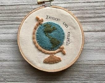 Felt Globe Embroidery Hoop