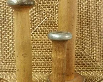 Set of 3 Vintage Wooden Textile Spools