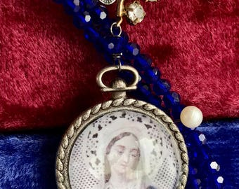 cobalt dream - necklace virgin mary portrait glass blue rhinestone flower beaded catholic cross charm holy religious, the french circus