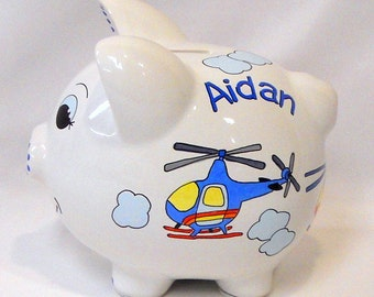 Kid's Personalized Piggy Bank with Helicopters