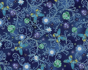 New - Pressed Butterfly Floral Impressions Turquoise - Kanvas - 1 yard - More Available - BTY