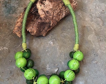Funky Necklace, Linen Necklace, Linen Jewelry, Natural Necklace,Chunky Necklace, Boho Necklace,Wood Beads, Natural Seed Beads, Linen Cord