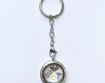Floating charm locket key chain for friend, stainless steel twist top locket key ring with stones, keepsake friend gift, you choose charms
