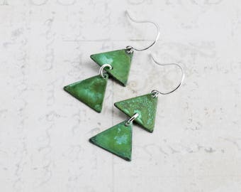 Aged Brass Green Patina Triangle Earrings on Silver Plated Hooks (Hand Patina)