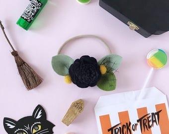 Single Flower Headband or Alligator Clip // Witchy Poo Black, Fall Carnation Felt Flower