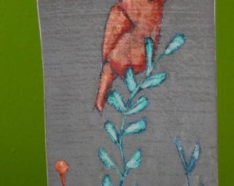 little bird on leafy branch painting original a2n2koon mixed media bird wall art on irregularly-shaped textured reclaimed wood teal peach