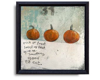 Halloween Wall Decor, Pumpkins Picture, Pumpkin Decor, Trick or Treat Halloween Art, Rustic Halloween Painting, Trick or Treat Sign
