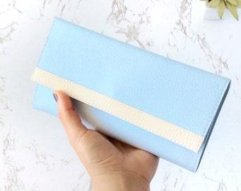 Pastel leather womens wallet clutch, long wallet, cash envelope wallet, trifold wallet women, smartphone wallet, light blue bridesmaid dress