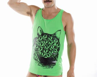 Green and metallic black mutant kitty tank top