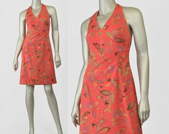 90s Dress, Halter Dress, Floral Sundress, Coral Dress, Orange Floral Dress, Open Back Dress, Cotton Dress, Jones New York 1990s Dress