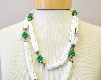 1950s Glass Bead Long Multi-Strand Necklace