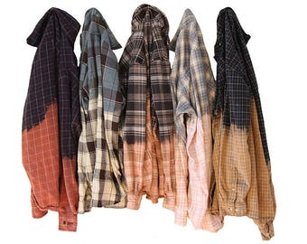 Bleached Flannel Shirt Custom Hand Dyed Distressed Flannels