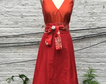 Orange & Red 2-tone V neck Tea length A line Bridesmaid Dress
