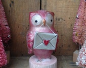 Owl, Valentines Day, Love letter, Pink, Folk Art, Paperclay