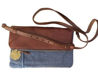 Crossbody Purse / Clutch - Vintage Railroad Stripe Overalls + Cognac Brown Leather