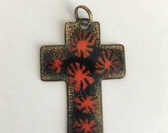 Black enamel cross pendant - red stars - gothic vintage jewelry - religious charms - necklace - faith - 70s 80s - Free shipping Canada USA