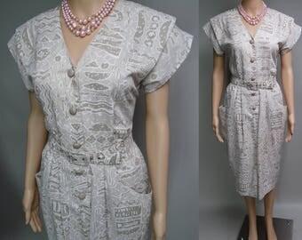 Vintage 1950s Dress | 50s Retro Dress | Designer Dress | Sally Lou Dress | Retro Print Dress | 1950s Dress