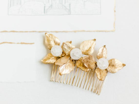 Gold Bridal Flower Hair Comb, Gold Flower Hair Comb, Brass Flower, Wedding Hair Comb, Freshwater Pearl, Rose Quartz, Amazonite, Agate GEM