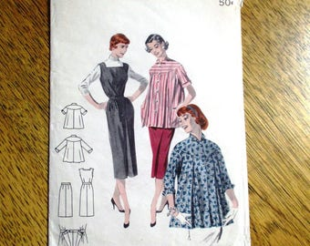 """Mid Century Modern 1950s Maternity Smock / Blouse & Expandable Pencil Skirt - Size 13 (Bust 31"""") - VINTAGE Sewing Pattern Butterick 7526"""