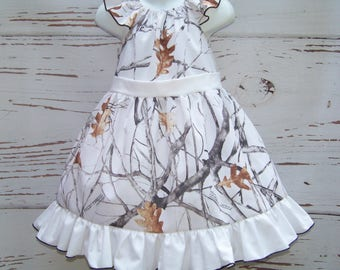 CAMO Twirl Dress / Snow Camo + White / Flower Girl / Wedding / Bridesmaid / Pageant / Infant / Baby/ Girl/ Toddler/ Custom Boutique Clothing