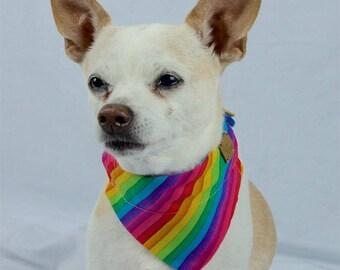 Rainbow and Paw Print Reversible Dog Bandana, Slip-on Collar Dog Bandana, Rainbow Dog Scarf, LBGTQ Pride Dog Scarf
