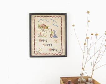 antique embroidery sampler,cross stitch,vintage embroidery,HOME SWEET HOME,cabin,vintage folk art sampler,farmhouse antiques,circa 1940