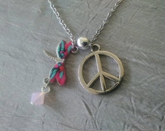 Dragonfly Peace Sign Necklace