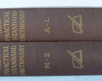vintage Dictionary, Funk and Wagnall's New Practical Standard , two volumes, 1952, color plates,  from Diz Has Neat Stuff