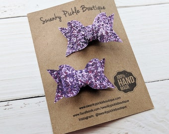 Glitter Hair Bows,Toddler Hair Bows,Pig Tail Bows,Lavender Hair Bow,Lavender Glitter Bow,Toddler Hair Clips,Hair Clip Set,Purple Glitter Bow