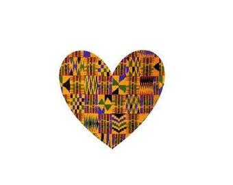 Adhesive Decal Kente Cloth Serengeti Pattern Heart Sticker - Decal For Car, Decal For Yeti, Sticker For Yeti, Sticker For Car