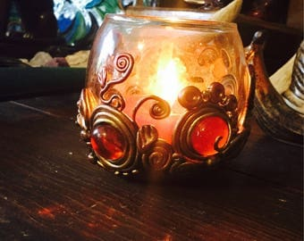 AUTUMN FANTASY Polymer Clay Glass Candle Holder