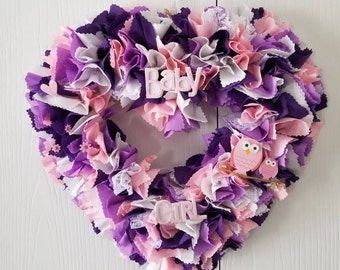 Girl Nursery Wreath, Owl Baby Shower Decorations Girl, Owl Wall Decor Girl Room, Baby Nursery Wreath, Nursery Wreath, Owl Theme Baby Shower