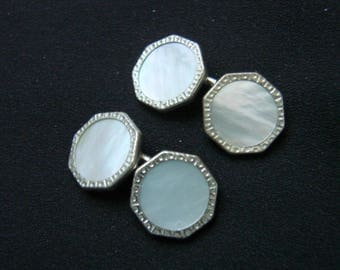 Art Deco Mother of Pearl Etched Silver Two Sided Cuff Links / Wedding / Groom / Groomsmen / Vintage Mens Suit Accessories