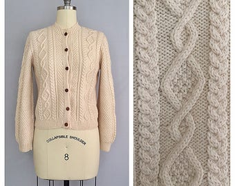 Aran cardigan | 1960s cream cable knit sweater | 60s hand knitted cardigan | s - m
