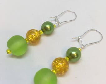 Lime Green and Yellow crackle bead and green Pearl dropper dangle Earrings with glass seed beads app 3 inches by JulieDeeleyJewellery