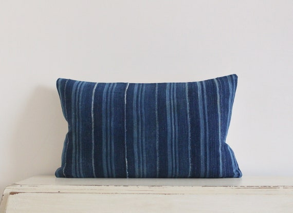 "Vintage indigo African mudcloth pillow / cushion cover 12"" x 20"""