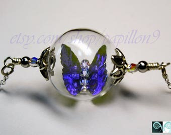 Iridescent BUTTERFLY in Hand Blown Glass Bubble Pendant