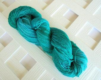 Indie-Dyed Yarn, TURQUOISE Sparkly Fingering-Weight Yarn, Superwash Merino, Crochet Yarn, Sparkly Knitting Yarn, Tonal Yarn, Weaving Yarn