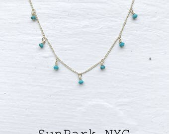 Turquoise Droplet Gold Silver Necklace/Turquoise gold Choker Necklace/Turquoise Silver Necklace/Birthstone Gemstone Crystal Necklace
