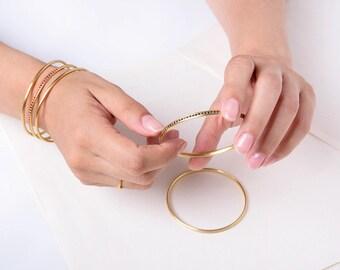 18k Solid Gold Bangle Bracelet, Simple Bracelet, Thin Bracelet, Stacking Minimal Bracelet,Delicate Bracelet Dainty Bangle 14k