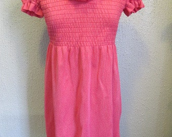 1970s Heather Red Smocked Mini Dress with puff sleeves